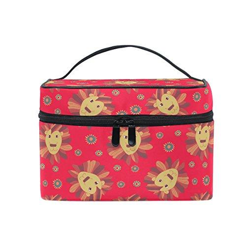 Trousse à maquillage avec imprimé tournesols/lions - Avec grande poignée de transport et compartiments multiples - Rouge