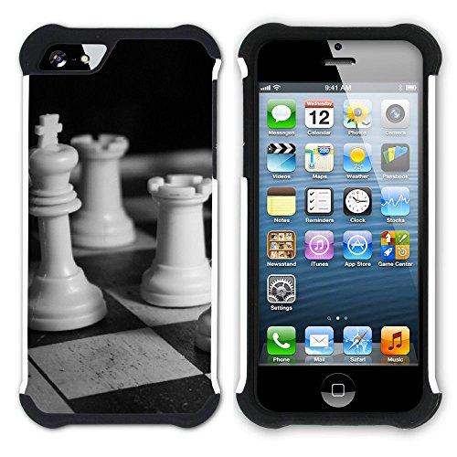 Graphic4You Schach Spiel Schach-Vorstand Hart + Weiche Kratzfeste Hülle Case Schale Tasche Schutzhülle für Apple iPhone SE / 5 / 5S Design #5