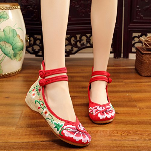 Zhuhaitf Haute qualité Womens Pretty Embroidered Casual Shoes Chinese Style Red Cloth Shoes red
