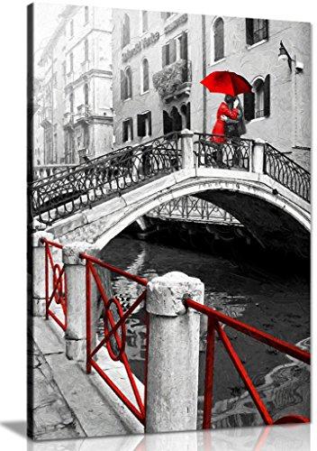 Venedig rot-schwarz-weiß Bild Romantisches Canvas Wall Art Print Bild, schwarz/rot/weiß, A1 76x51 cm (30x20in) - Rote Canvas Art