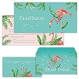 PAPERHELDEN 12 Flamingo Einladungskarten mit 12 Umschlägen zum Geburtstag für Kinder & Erwachsene | Mädchen Geburtstags-Einladungen zur Flamingo-Party