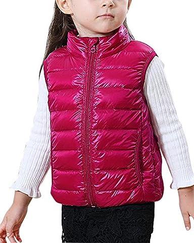 Veste Sans Manches En Hiver Doudoune Gilet - Enfant Unisexe Peach Rouge 130
