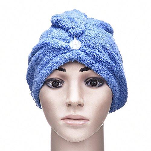 Yunhigh Mikrofaser Haare trocknen Handtücher Wraps mit Knopf Anti-Frizz absorbierende Turban Haarkappe für lockige lange Haare Frauen Kinder Damen Mädchen blau (Wickeln Handtuch Damen)
