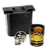 jjjstore Ice Cube Formen BPA-freies Silikon 3D Skull kristallklare Ice Ball Maker für die Home Party Machen 2vollkommen klar, slow-melting 6cm Ice Cube für Ihre Cocktails & Whiskys