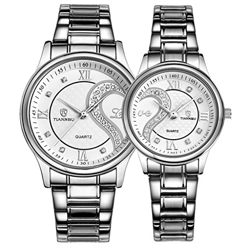 - 51Nezr1jLJL - Couple Watches Quartz Waterproof Wristwatches for Lovers Pair in Package Silver Dial Stainless Steel Band