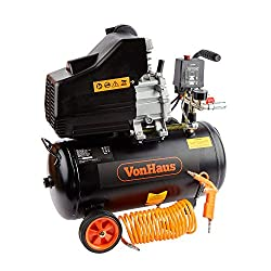 VonHaus 24L Air Compressor with Accessory Kit - Max Discharge 120 PSI (8 Bar) & 9.6CFM - Includes Blow Gun, Tyre Inflator & 4m Spiral Hose
