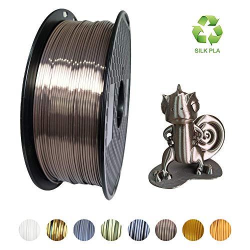 KEHUASHINA Silk Pla Filament für 3D Drucker und Stifte, Neue Farbe, Dunkel Rose Gold, 1 kg Spule - 1,75 mm Durchmesser Filament wie Metall