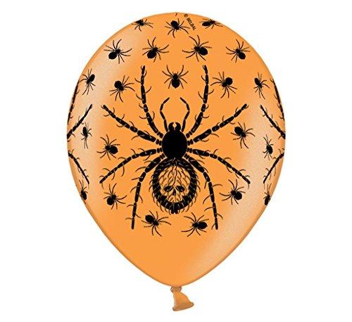 6 Ballons Spinne schwarzer Druck 30cm Durchmesser, 12