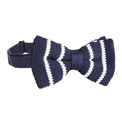 Robelli Homme tricoté Réglable Nœuds Papillon Pré-noués - vendeur anglais Marine w/ Rayure Blanche