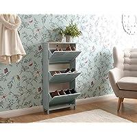 Right Deals UK Bergen Modern Wooden Tiered Hallway Shoe Cabinet - White or Grey (Grey, 3 Tier)