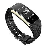 LongJu Impermeabile S2 Smart Braccialetto Fitness Monitor Braccialetto Intelligente Bluetooth 4.0 Frequenza Cardiaca e Monitoraggio Sonno Inseguitore di Forma Fisica Wristband Activity Tracker per Android e IOS Smartphone (Nero)