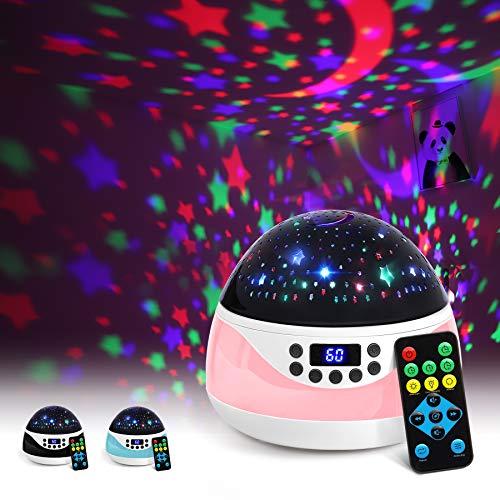 AnanBros Sternenhimmel Projektor mit Musik, Nachtlicht Baby Spieluhr mit Fernbedienung und Sleep-Timer, Rotierendes Lampe Kinderzimmer mit Effekten in 9 Farben, Projektor für Babyzimmer Deko, Rosa