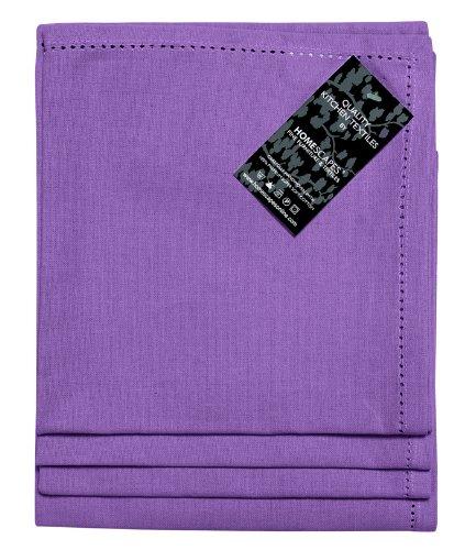 Homescapes Servietten Set 4 teilig lila unifarben 45 x 45 cm aus 100% reiner Baumwolle, Stoffservietten lila