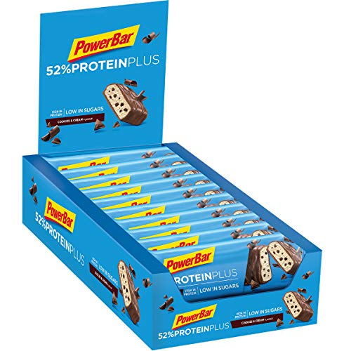 PowerBar Protein Plus 52{3a2710283199126f65a686e74a9a047c0eeae67b76273e9d09d0de16a0e30e53} Cookies&Cream 20x50g - High Protein Low Sugar Riegel