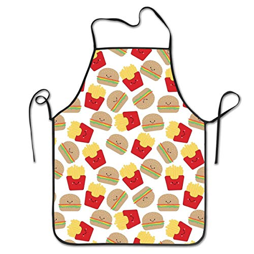 Sexy Friesen (sexy world Burger and Fries On White 100% Pure Polyester Artists Cooking Kitchen Aprons with Adjustable Neck Strap Aprons for Men and Women)
