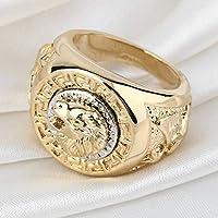 Los hombres clásicos de la manera del estilo punky del anillo de Hip Hop Band Cool Lion Head oro anillo de la joyería envío de la gota al por mayor