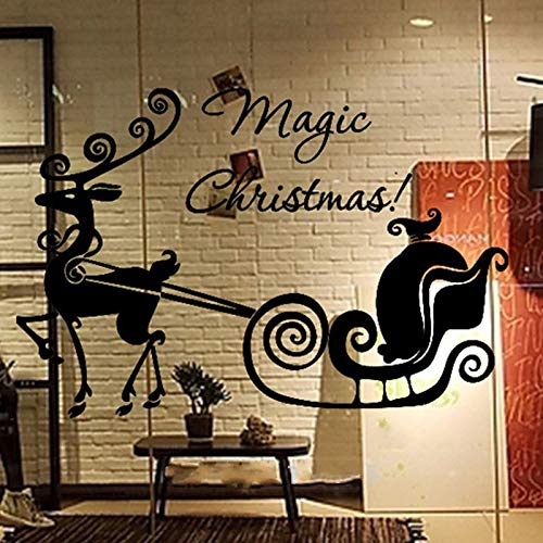 Weihnachten Wandaufkleber Dekorative Schlitten Rentier Schaufenster Fensterglas Elch Aufkleber Wohnkultur Abziehbilder 67x45 cm ()
