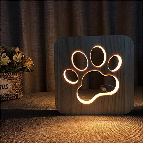 juman634 Luz de Madera de Noche Pata de Perro Lámpara de Cabeza de Lobo Decoración de Dormitorio para niños Luz cálida Lámpara LED USB para Regalo de niños