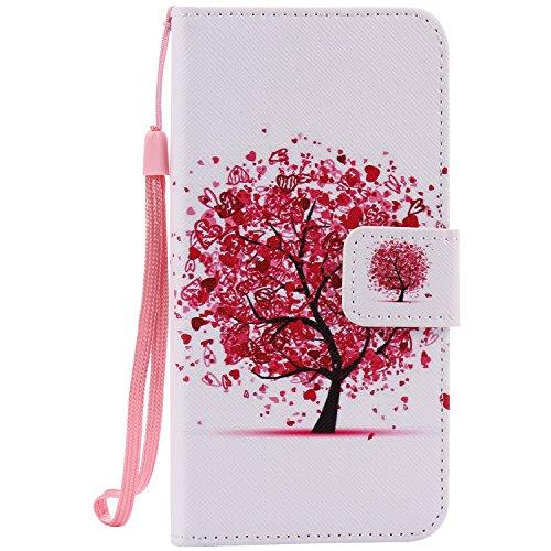 Coque pour iPhone 7, Cozy Hut Élégant Style PU Cuir Flip Magnétique Portefeuille Etui Housse de Protection Coque Étui Case Cover avec Stand Support pour iPhone 7 - Chats et arbre arbres colorés