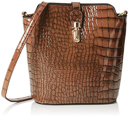 Swankyswans Damen Charlotte Croc Patent Leather Shoulder Bag Tan Umhängetaschen, Braun, One Size -
