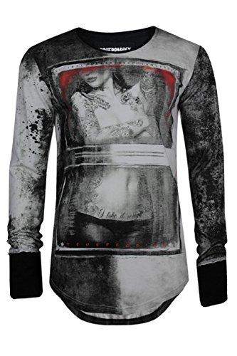 trueprodigy Casual Herren Marken Long Sleeve mit Aufdruck, Oberteil cool und stylisch mit Rundhals (Langarm & Slim Fit), Langarmshirt für Männer bedruckt Farbe: Schwarz 2572106-2999 Black