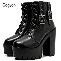 LFLXUE Autumn Women Ankle Boots Thick High Heels Female Shoes Black Gothic Buckle Lace-up Lady Short Boots