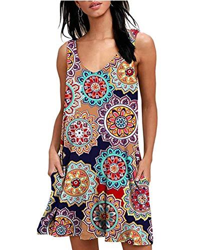 CLOUSPO Sommerkleid Damen Casual Vintage Ärmellos T-Shirt Kleid Kurzen Blumen Bedrucktes Strandkleider mit Taschen(Verpackung/MEHRWEG) (EU S/CN M, A-Blau) -