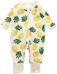 Bebés Pijama Enteros Estampado Floral Cremallera Manga Larga Trajes de Mameluco para niños niñas