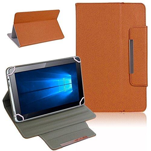UC-Express Odys Cosmo Win X9 Tablet Tasche Hülle Schutzhülle Case Cover Leder-Optik Bag, Farben:Braun