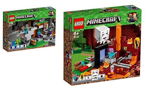 LEGO Minecraft 2er Set: 21141 Zombiehöhle + 21143 Netherportal