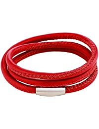 DonDon pulsera de cuero de color rojo con cierre magnético de acero inoxidable unisex
