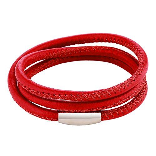 DonDon pulsera de cuero de color rojo con cierre magnético de acero inoxidable unisex 60cm