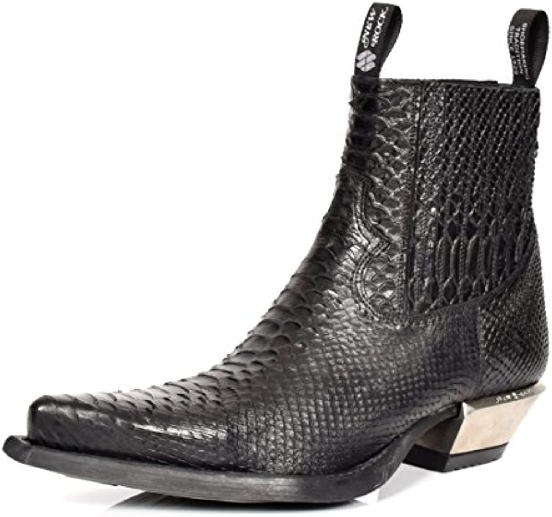 Schlangenhaut Drucken Stiefeletten Aus Echtem Leder New Rock Black Retro Lässig Spitzschuh Schuhe   A17953S4Schlangenhaut Drucken Stiefeletten Echtem Spitzschuh