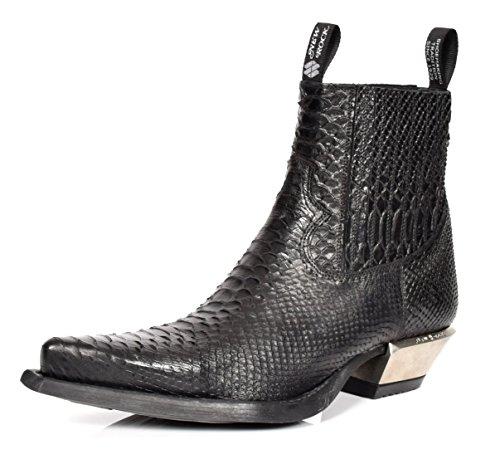 New Rock Schwarz Schlangen Druck Leder Chelsea Stiefel überstreifen Retro Knöchel Schuhe (EU 42) (Stiefel Leder Western Lace-up)