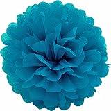 1 Papier Pompon 35cm NEU ( dunkel türkis 340D ) // PomPoms Bommel Kugel Seidenpapier Pom Pom Deko Hängedeko Raumdeko Blumen