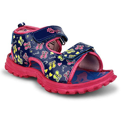 MYAU Kid's Boys & Girls Velcro Closure Butterflies Printed Sports Sandals (Blue Pink)  available at amazon for Rs.309