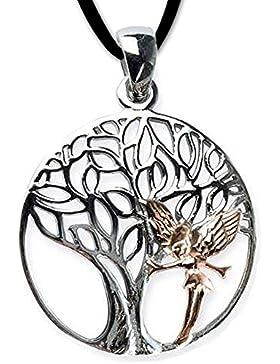 Anhänger Baum des Lebens Keltischer Lebensbaum Schmuck 925er Silber rhodiniert mit Elfe Rotgold mit Lederhalsband...