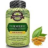 NATURELO Curcuma poudre avec extrait de gingembre biologique - Ajout BioPerine pour une meilleure absorption - Supplément Meilleur Anti curcumine inflammatoire pour soulager la douleur commune - 120 Capsules