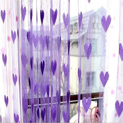 Y56 Nette Herzlinie Quaste Schnur Tür Vorhang Fenster Raum Vorhang Valance Sheer Voile Tür Fenstervorhang (Purple) -