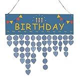 Baoblaze Immerwährender Geburtstagskalender DIY Kalender mit Rund und Herz Holzscheiben, Blau