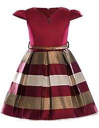 7ecac8397 RENQINGLIN Las Niñas Diariamente Salen Rayas Sólido Bloque De Color Vestido  De Algodón