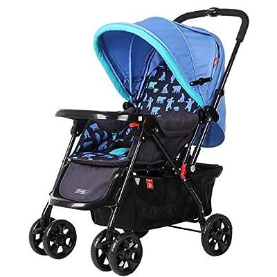 RUMIAO Pushchair, Four WheelFull CanopyShock Absorberpusher Reversible Baby Lightweight Stroller, 370mm Widened Sitting,Blue