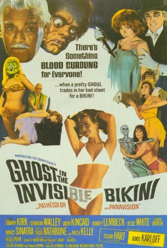 Ghost In the Invisible Bikini Poster film, 69 x 102 cm Tommy Kirk Deborah Walley Aron Kincaid Quinn O'Hara'Jesse, colore: bianco
