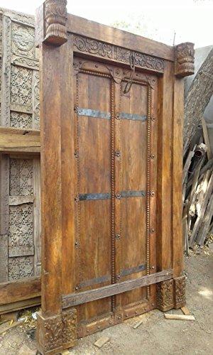 Antike Mittelalter Eingangstür Tür doppeltes Eingangstor mit Rahmen Türen Massivholz Breite138x Höhe225cm