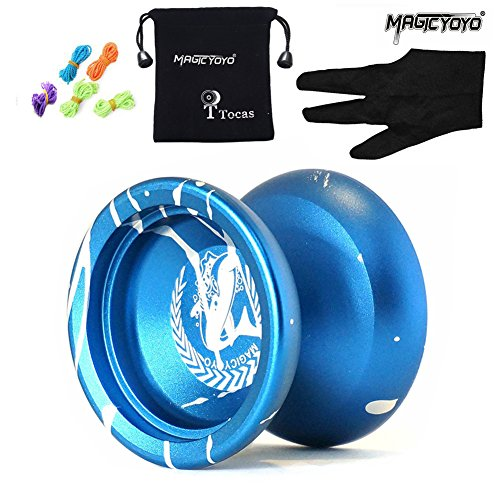 Magic-geschenk-tasche (MAGICYOYO N12 Shark Honor Authentic Nicht reagierende YoYo Ball mit Tasche + 5 Strings + Handschuh für Geschenk Spielzeug, Metall, Blau mit Weiß r Kinder Kinder anwesend Mädchen Jungen Geschenke)