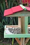 vogelhaus groß, mit ständer DACH ROT / Vogelhaus,wetterfest IN MOOSGRÜN,BEL-VIERDAROT-moos001 NEU ,Vogelhäuser+Vogelhausständer,3D-Vogelfutterhaus große Futterfläche + Dach,Futterstation Farbe grün moosgrün lindgrün natur/grün,Ausführung Naturholz