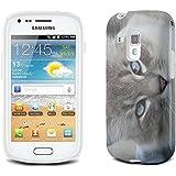 Chats 10046, Chaton Gris, Clair Etui Housse Coque de Protection en Cuir avec Stand, Fermeture Magnétique et Dessin Coloré pour Samsung Galaxy S3 Mini