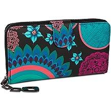 styleBREAKER Monedero con Motivo de Flores étnicas y floración, diseño Vintage, Cremallera, Mujeres