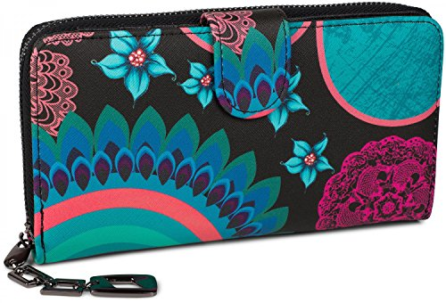 styleBREAKER portefeuille à motifs de fleurs ethniques differents, dessin vintage, fermeture à glissière toute autour, femmes 02040040, couleur:Noir-t...