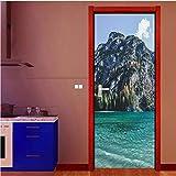WFYY Île Bleu mer Porte Autocollants réfrigérateur Autocollant Murale PVC Auto-adhésif réfrigérateur Porte Papier Peint Cuisine décor Meubles Art